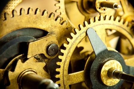 clock gears: gears from mechanism closeup