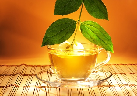 jasmine tea with fresh jasmine leaves and flowers in soft warm evening light photo