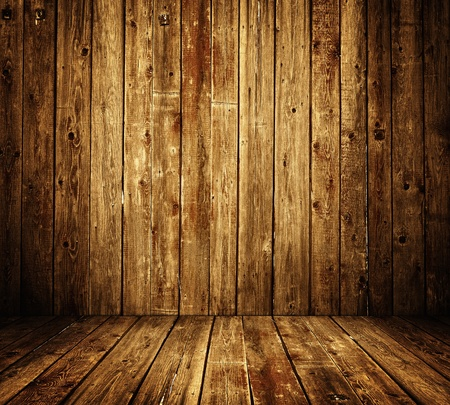 burnt wood: wooden room interior Stock Photo