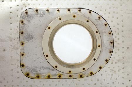 aluminum airplane: aluminum plate with rivet and screw Stock Photo