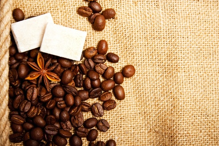 anisetree: coffee spices - beans, anisetree and lump sugar on sacking Stock Photo