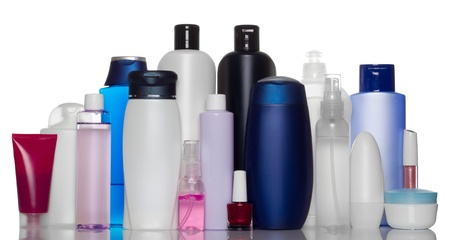 toiletries: Collection of bottles of health and beauty products Stock Photo