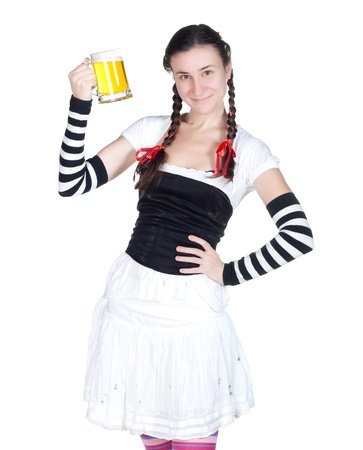 alcohol server: girl wearing in a traditional german dirndl costume with a beer mug