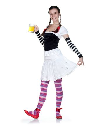 girl wearing in a traditional german dirndl costume with a beer mug photo