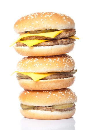 hamburger tower isolated on white photo