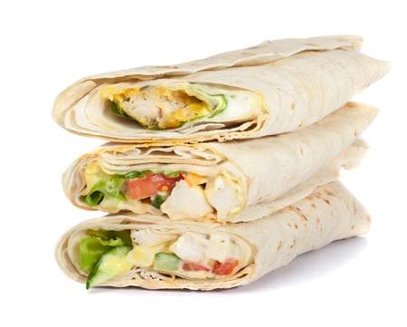 turkish bread: three rolled sandwich isolated on white Stock Photo
