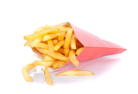 french fries in paper box isolated on white photo