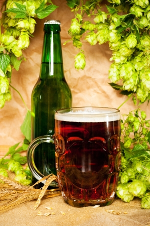 beer and hop on sacking still-life Stock Photo - 12410682