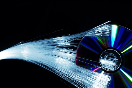 compact: fiber optics and compact disc Stock Photo