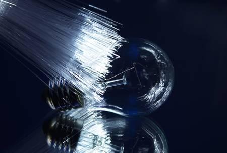 fiber optic lamp: light bulb with optic fiber with reflection