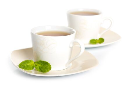 tea with mint isolated on white photo