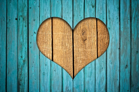 grunge heart: Wooden fence with heart