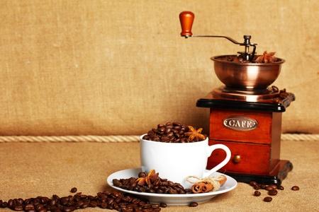 coffee and retro coffee grinder photo