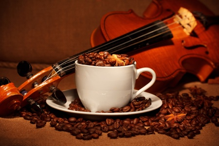 coffee and violin photo