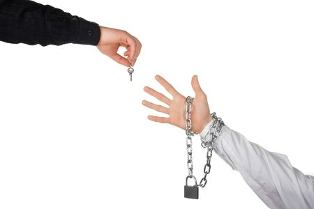 key to freedom: release from contract concept Stock Photo