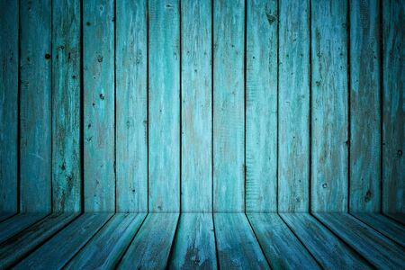 dark room interior with blue painted wooden walls and floor Stock Photo - 12773159