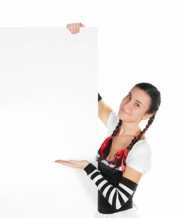 girl in dirndl  with a blank sign photo