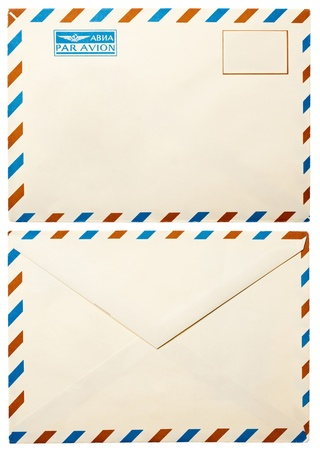 old envelope: old envelope with by air mark on russian and francias front and back view isolated on white