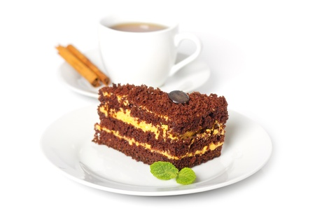 chocolate cake with a cup of coffee photo