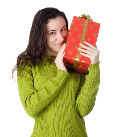 gifting: girl holds a gift