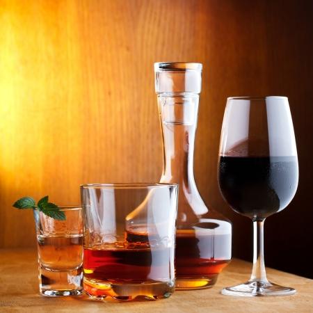 다른 알코올 음료 스톡 사진