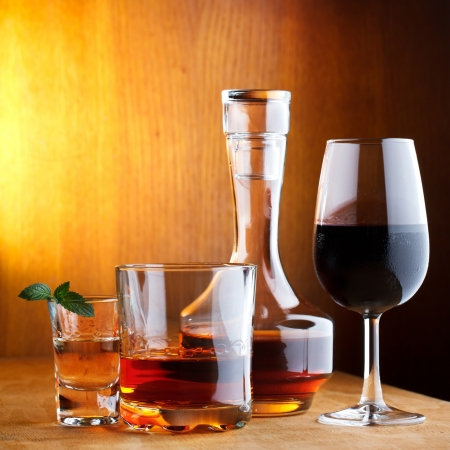 alcoholic drinks: different alcohol drinks Stock Photo