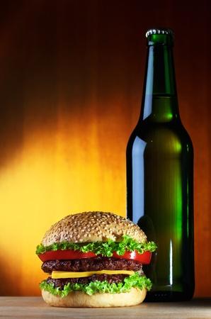 single beer: hamburger and beer