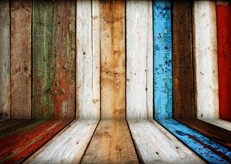 burnt wood: painted multicolored wooden room interior