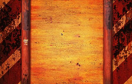 beware: painted rusty metal background with copy-space