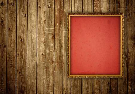 picture frame on wooden wall Stock Photo - 12773199