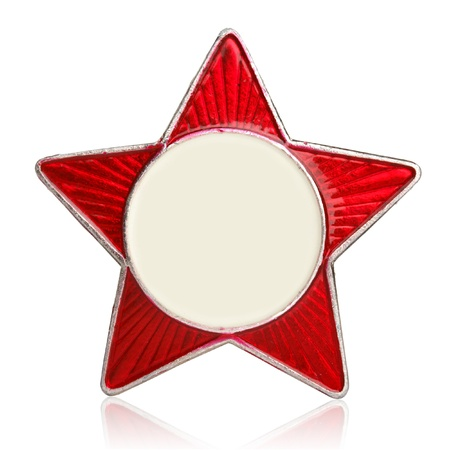 Red star metal sign isolated on white photo
