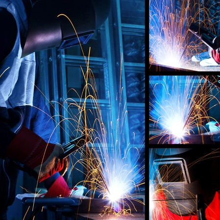 welding metal: Welding iron collage Stock Photo