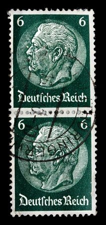 hindenburg: GERMANY REICH - CIRCA 1933: A stamp printed in Germany shows image with portrait President Hindenburg, circa 1933