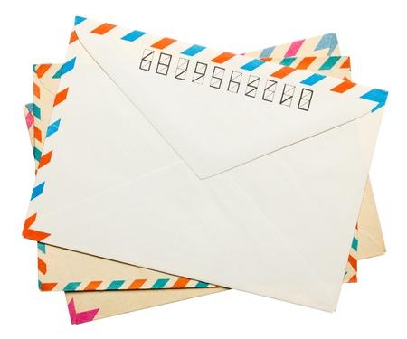 vintage envelope: tres de sus lados de �poca posterior envolvente aislado en blanco Foto de archivo