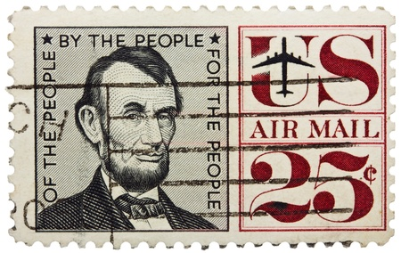 ideological: USA - CIRCA 1960: A stamp printed in USA shows portrait of president Abraham Lincoln, circa 1960
