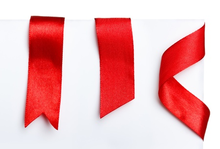 Red bookmark ribbons set Stock Photo