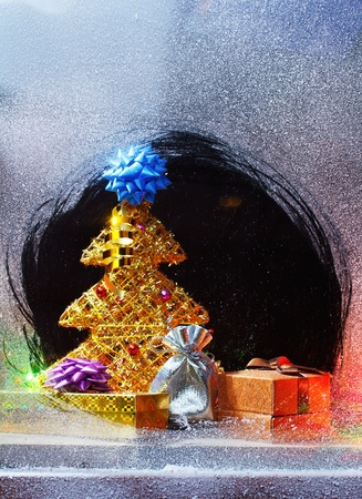 bow window: Merry Christmas still-life with christmas gifts and copy-space Stock Photo