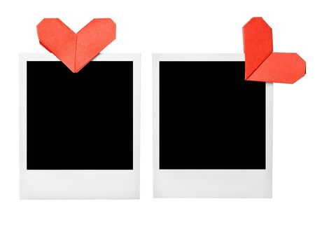 Blank photo frames with origami hearts clip photo