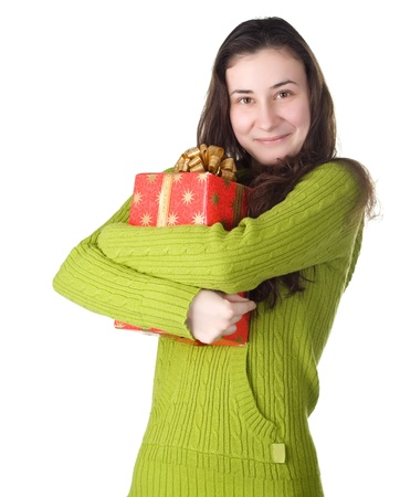 gifting: woman with boxed gift Stock Photo