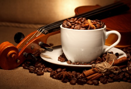 coffee and violin still life photo