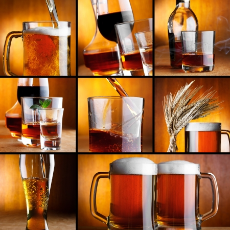 Beautiful alcohol drinks collage photo