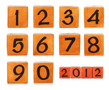 numbers on wooden painted cubes photo