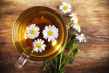 herbal tea on wooden table photo