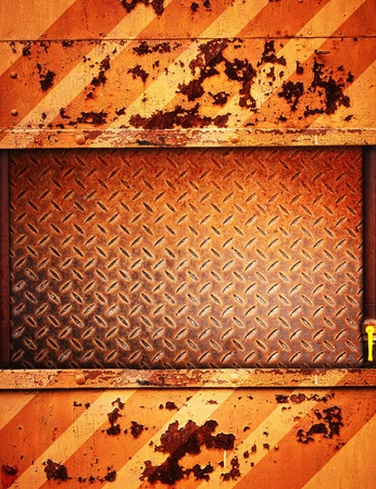 clinch: painted rusty metal background with copy-space
