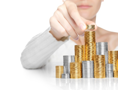 Hand put coin to stack, investment or growth concept with copy-space photo
