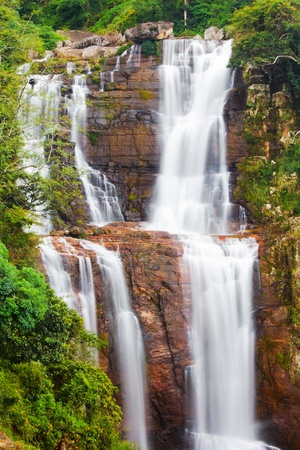 Waterfall in mountains at Ceylon Stock Photo