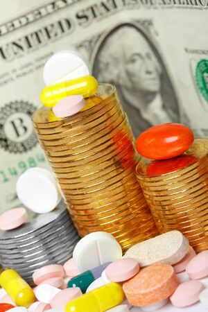 pills and money close-up photo