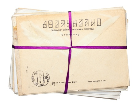 envelope stak crossed by ribbon Stock Photo - 12926398
