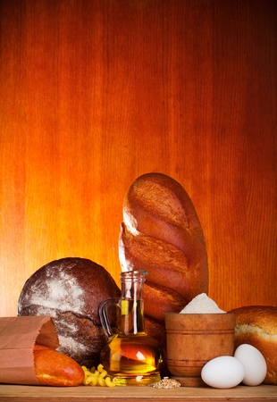 Bread assortment with baking ingredients photo