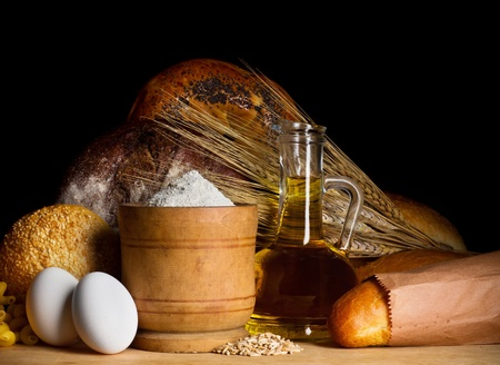 Bread with oil, eggs and flour photo